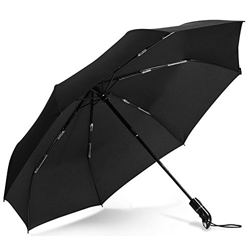 EzGoo Compact Travel Umbrella w/ Windproof Reinforced Canopy, Auto Open/Close, Slip-Proof Handle (Black)