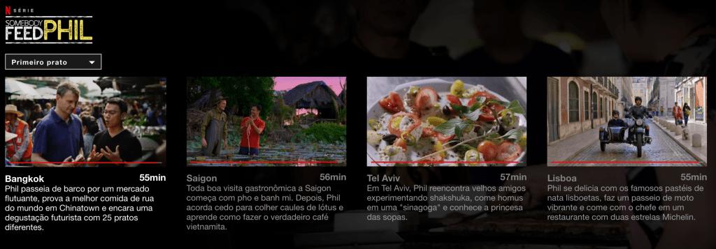 captura de tela com os resumos dos quatro primeiros episódios da série somebody feed phil