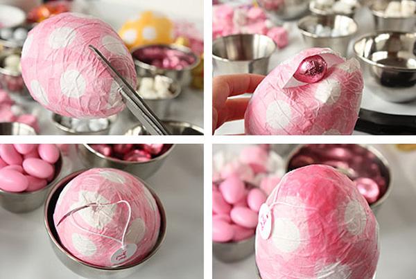 Huevos de Pascua con papel maché