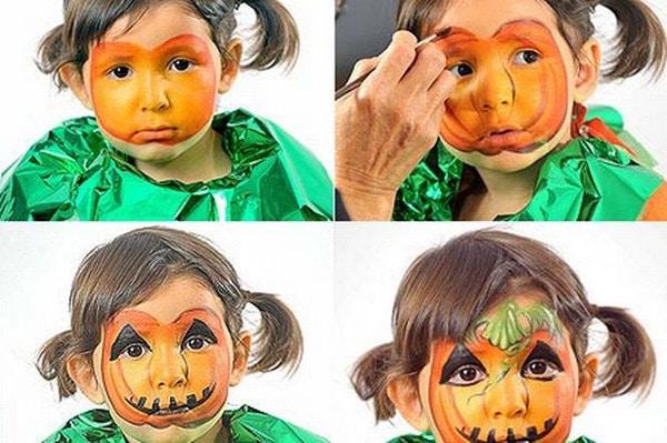 Maquillajes de Halloween: bruja, esqueleto y calabaza