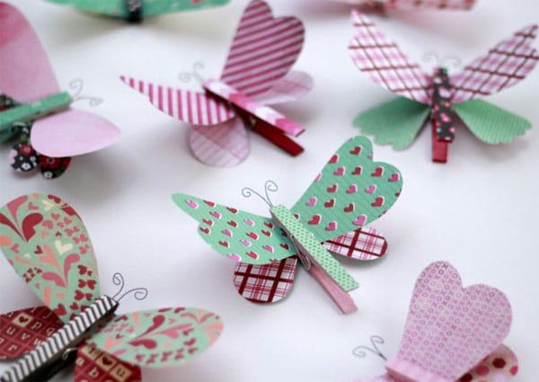Manualidades con pinzas: ¡mariposas!