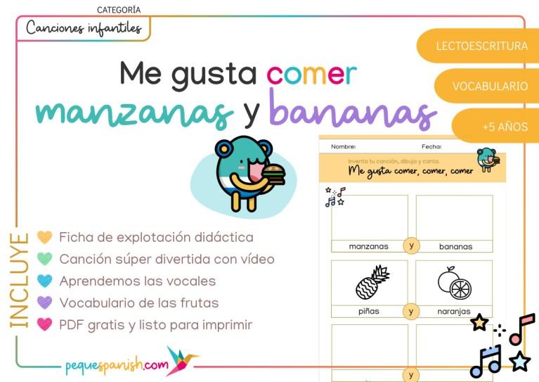 Pequespanish_Me gusta comer manzanas y bananas