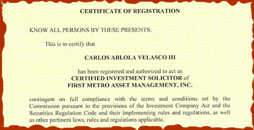 My SEC Certificate showing my  Affiliation with FAMI.