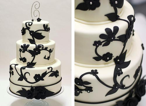 Memorable Wedding  Black and White Wedding Cakes Black and White Wedding Cakes