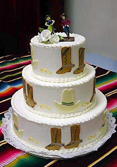 Country Western Wedding Cakes Gallery White  three tier country western style wedding cake with a dancing country  and western bride