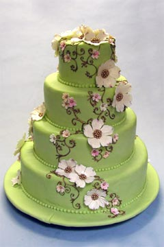Small Two Tier Pastel Pink Fondant Wedding Cake Decorated With Blue Green Erflies