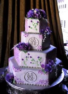 Stunning Purple Wedding Cake Designs Four tier hexagon shape purple oriental wedding cake  decorated with  intricate purple decorations