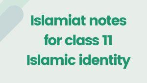 Islamiat notes for class 11 Islamic identity