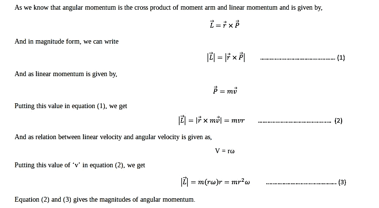 Show that angular momentum in magnitude is given by