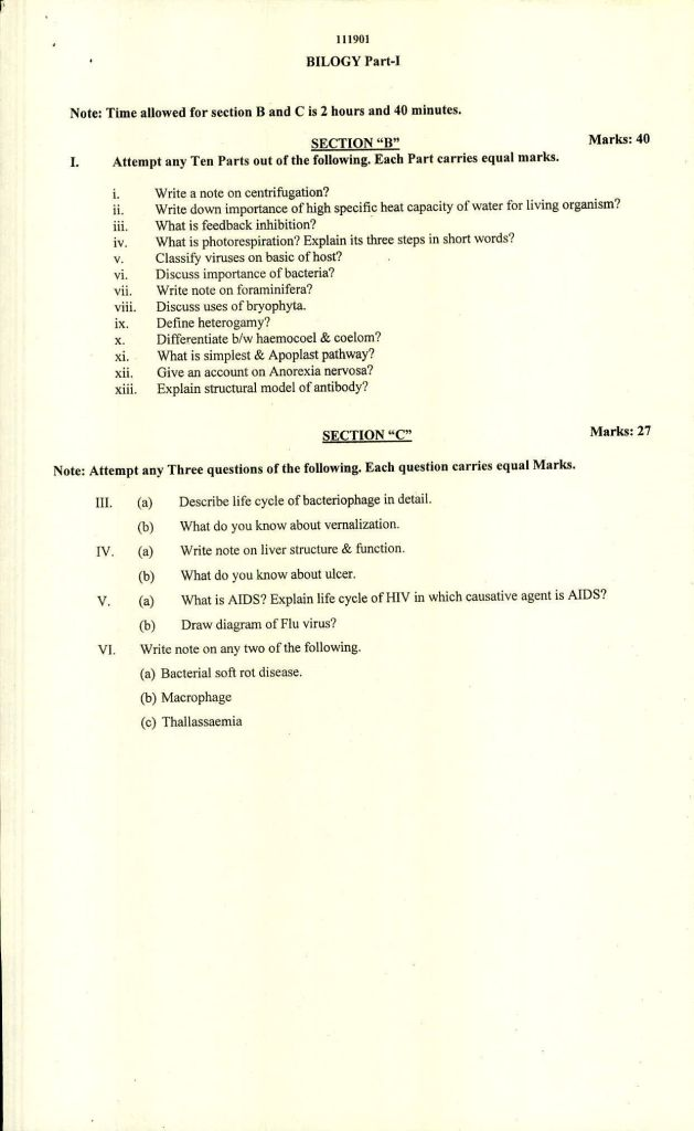 Bise Swat Model Papers Class 11th PDF 2