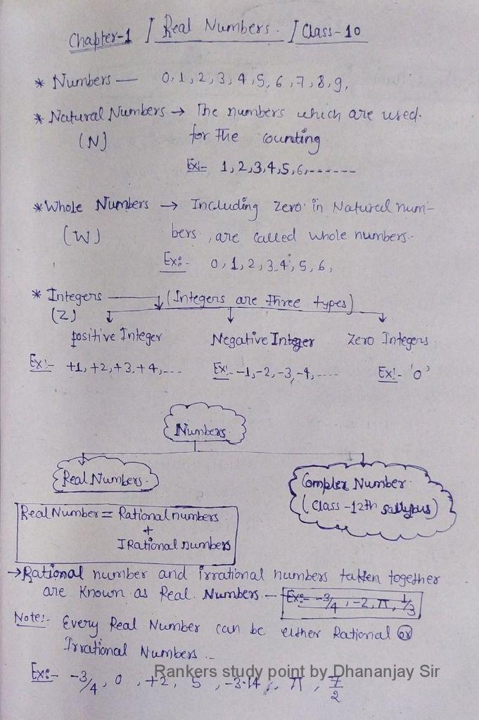 Euclid division lemma class 10 Handwritten pdf Notes 1