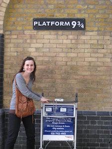 With Harry Potter at Platform 9 3/4
