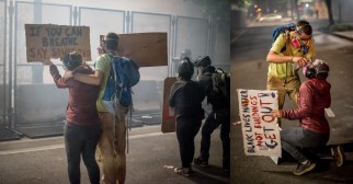 Left: Two protesters stand holding signs as Federal Police tear-gas them. Right: One tries to wash tear gas from the eyes of the other.