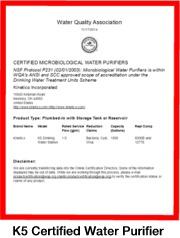 K5 Certified Microbiological Water Purifier