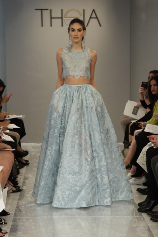 Theia Blue Crop-Top Dress