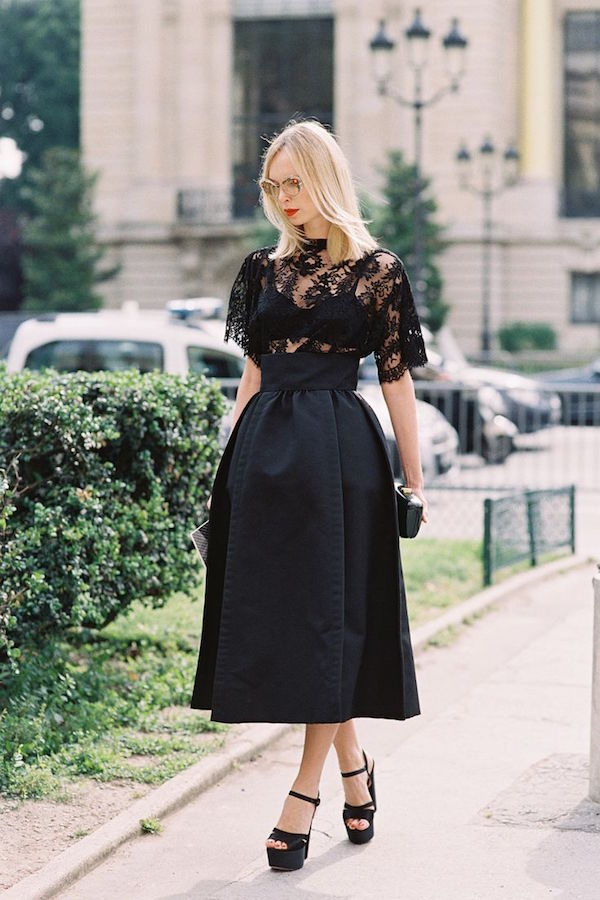 full skirt and sheer blouse