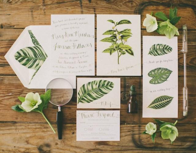 Leaf themed invitation suite