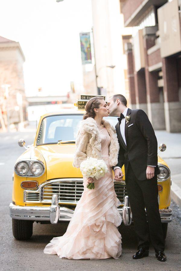 NYC Taxi Wedding Getaway