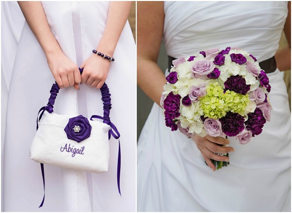 Purple and white wedding at pure sugar studios