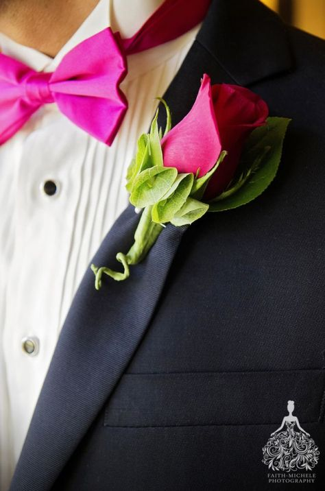 Stunning magenta rose and lime boutonniere. Photo by Faith Michele Photography.