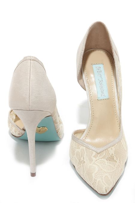 Betsey Johnson ivory shoes with something blue soles