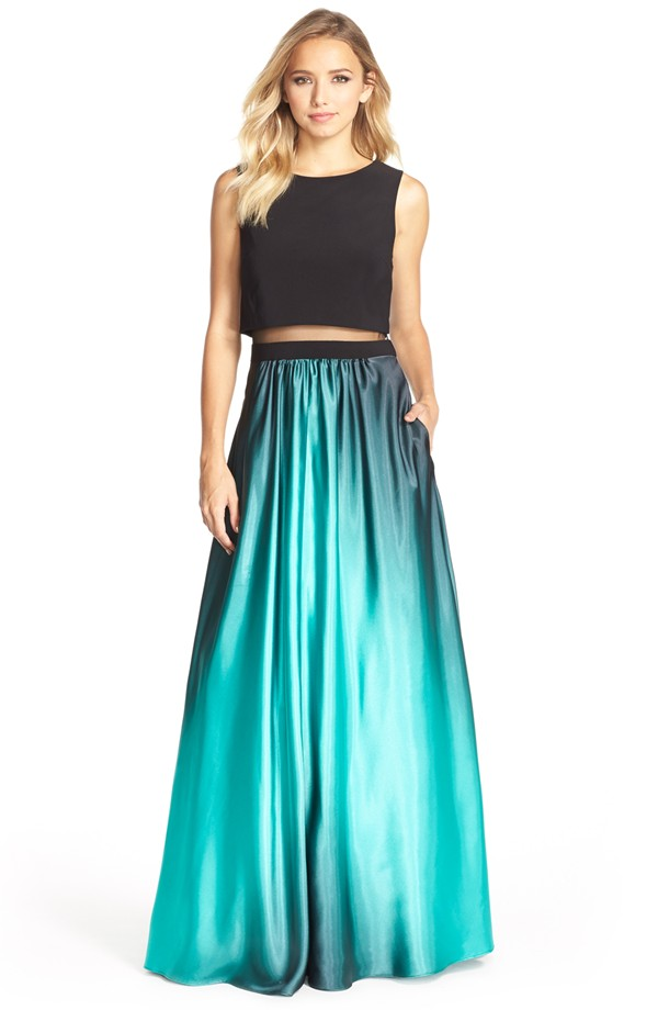 Wedding Guest Outfits for the Holiday-Betsy Adam Satin Ball Gown