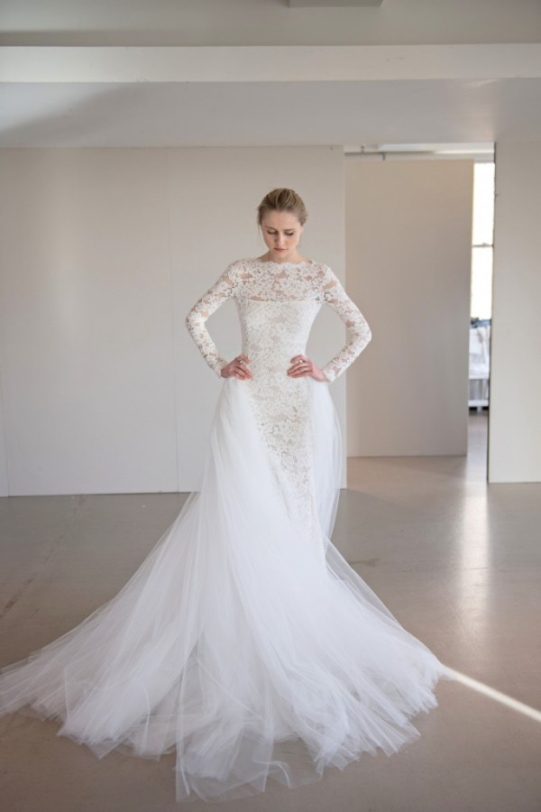 Oscar de la Renta over skirt lace wedding dress