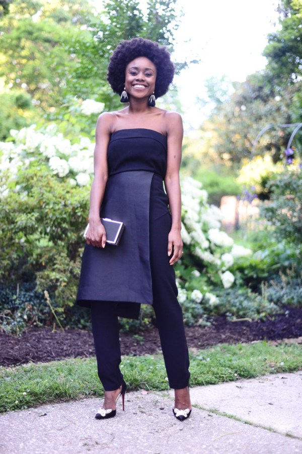 Strapless black wedding outfit- jumpsuit