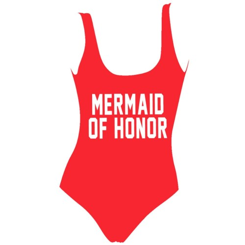 mermaid of honor bridesmaid graphic swimsuit