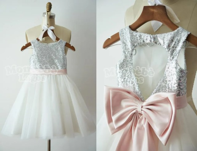 silver-sequin-and-white-tulle-flower-girl-dress-with-pink-ribbon