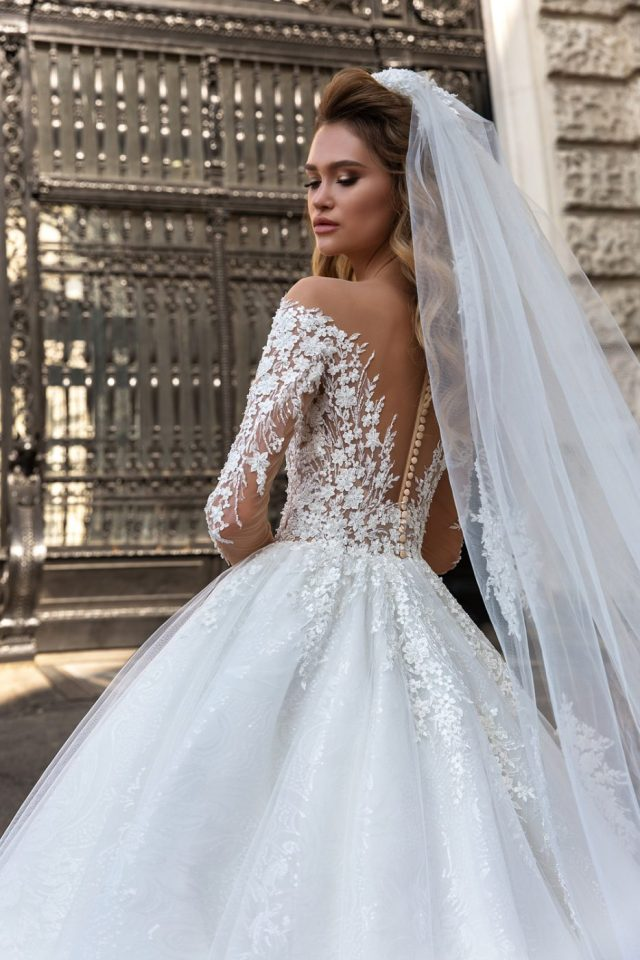 illusion off shoulder ballgown by Crystal Design Couture