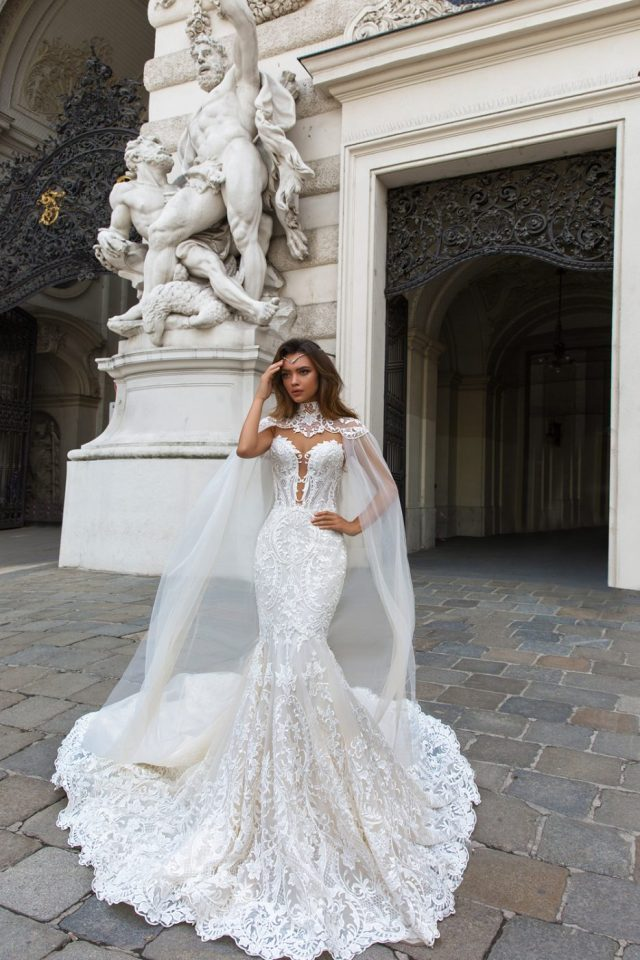 Cape Wedding Dress by Crystal Design Couture