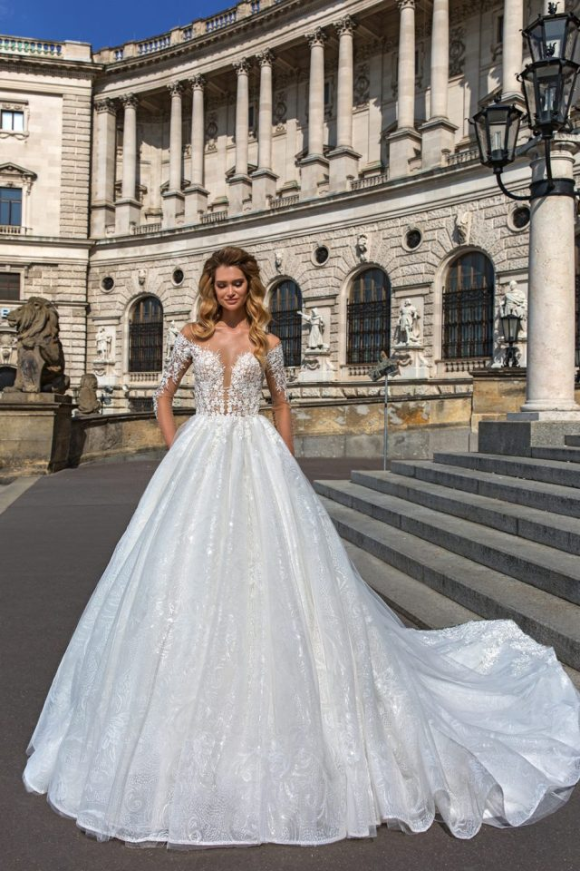 off shoulder ball gown with plunge neckline by Crystal Design Couture