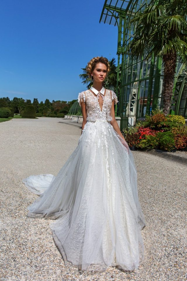 sleeved shirt cover up ball gown by Crystal Design Couture
