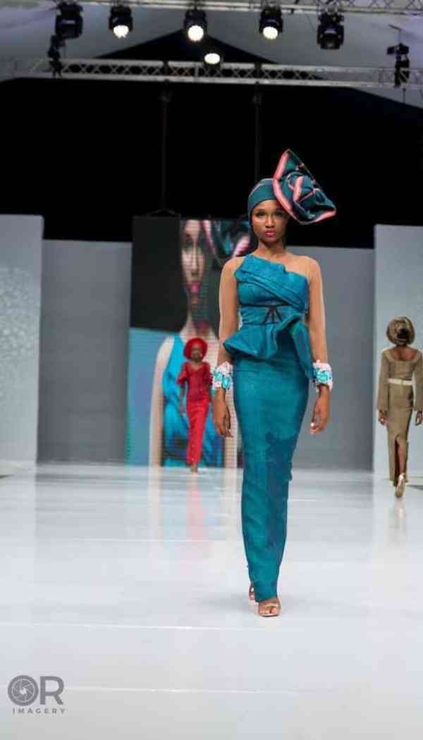 teal Aso oke outfit