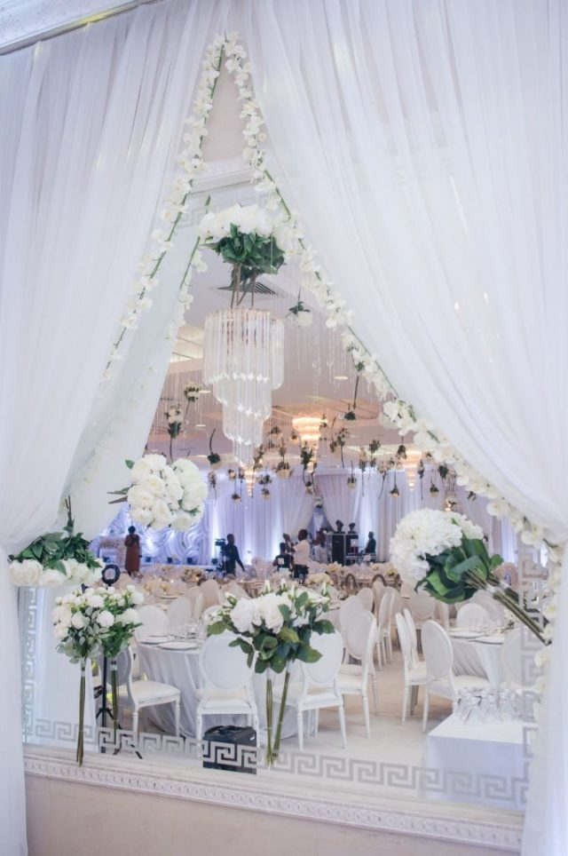 draped wedding reception entrance