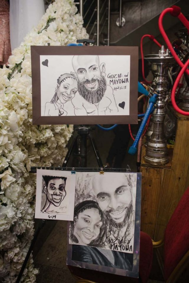 caricature wedding after party decor idea
