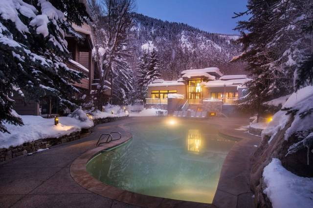 Heated pool in the snow at the Gant Resort in Aspen Colorado