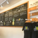 chalkboard menu of Hawaiian lemonade offerings in Haleiwa