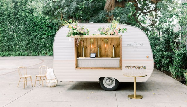 classic and simple mobile bar vintage camper perfect for any wedding reception