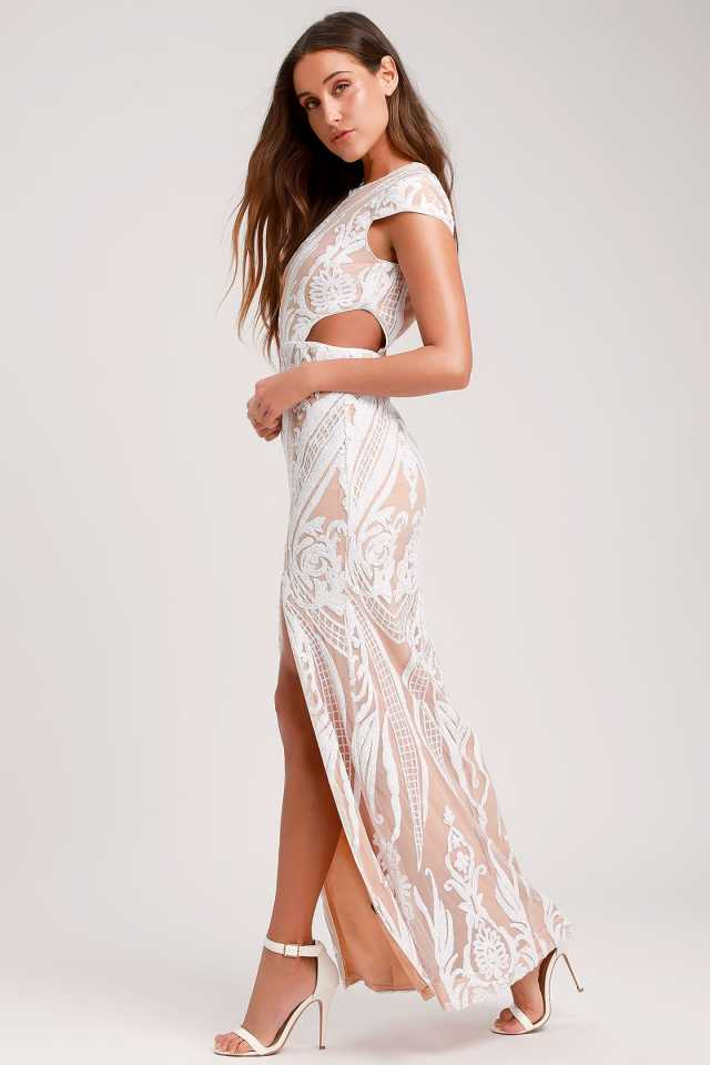 illusion lace cut out dress. in white. chic and affordable bridal fashion ideas for the wedding reception.