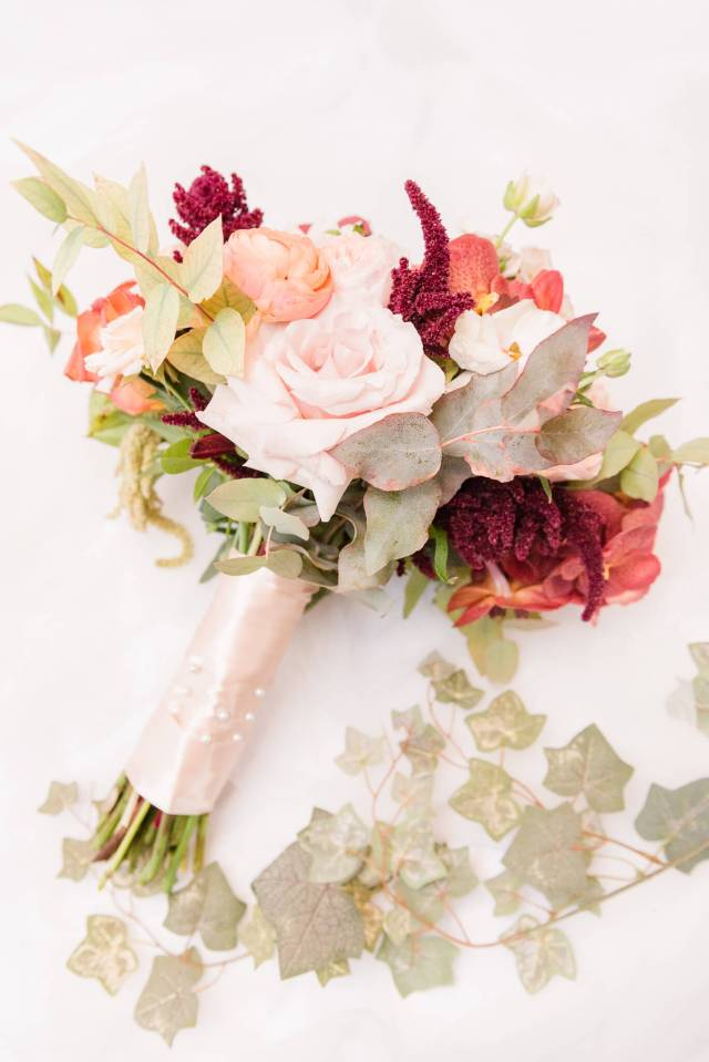 Fall wedding bouquet with roses