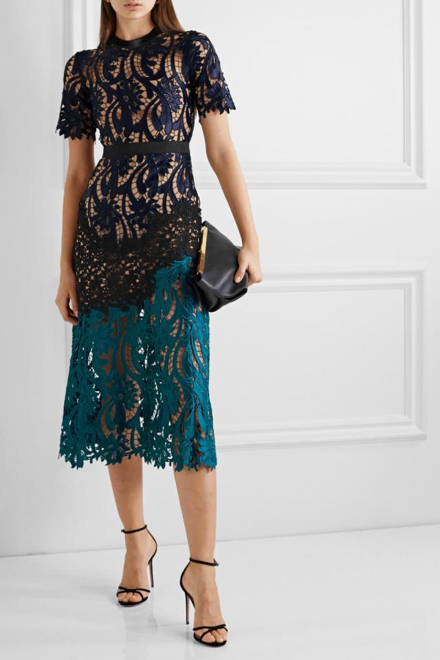 Short sleeved Lace Dress by Self Portrait