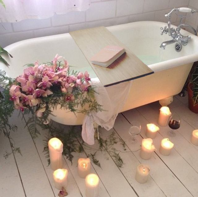 self care birthday party in bath tub