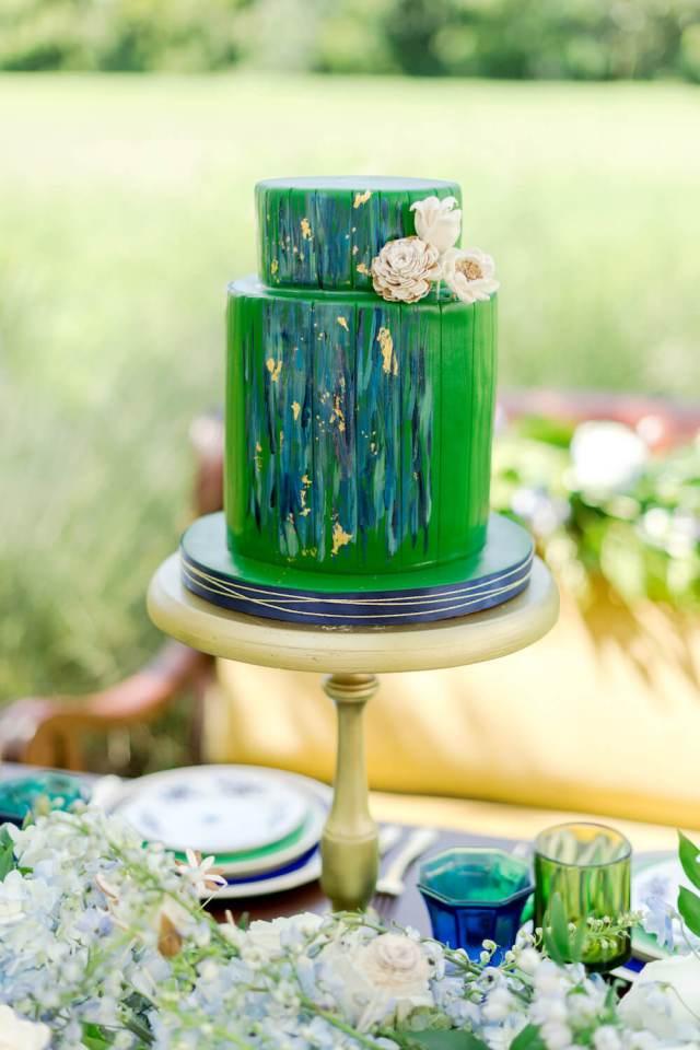 green watercolor cake