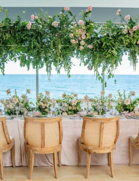 Malibu Dinner Party with Gorgeous Greenery & Natural Wood Decor-9
