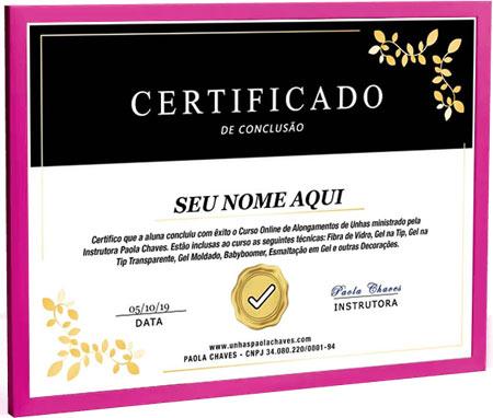 Certificado de conclusão - Curso de Alongamento de Unhas Online