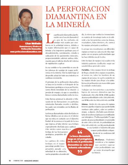 La perforación diamantina en la minería