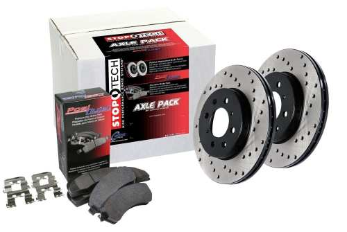 StopTech 936.63014 Street Axle Pack Front And Rear Incl. Drilled Rotors And Pads Street Axle Pack