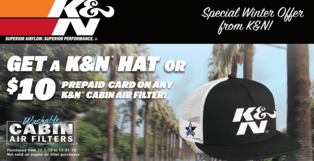 K&N Free Hat or $25 Card on Air Intakes